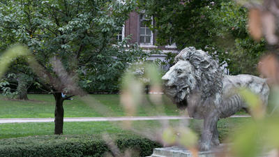 Scholars Lion seen from a distance against campus green space.